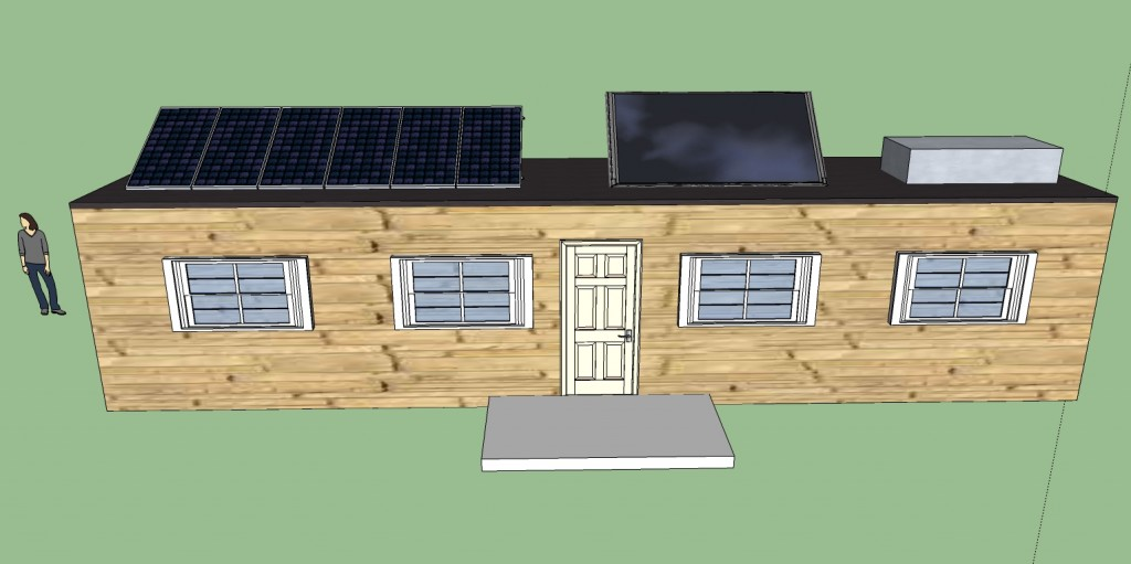 Off grid shipping container cabin