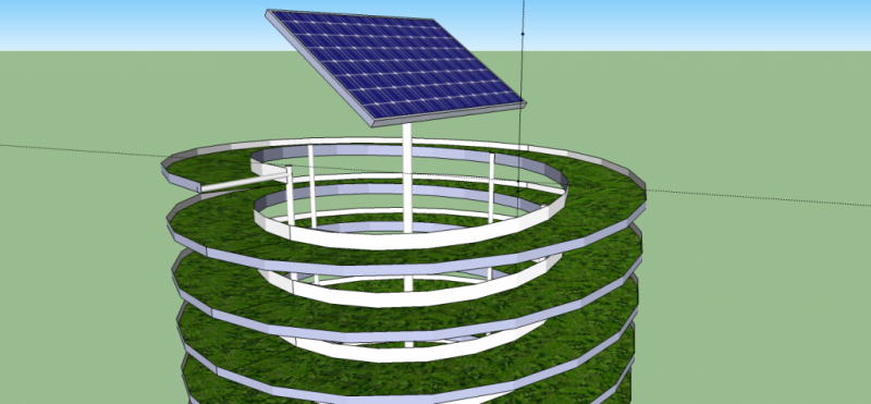Solar powered vertical aquaponic system