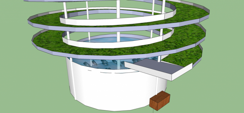 Base of the spiral aquaponic system