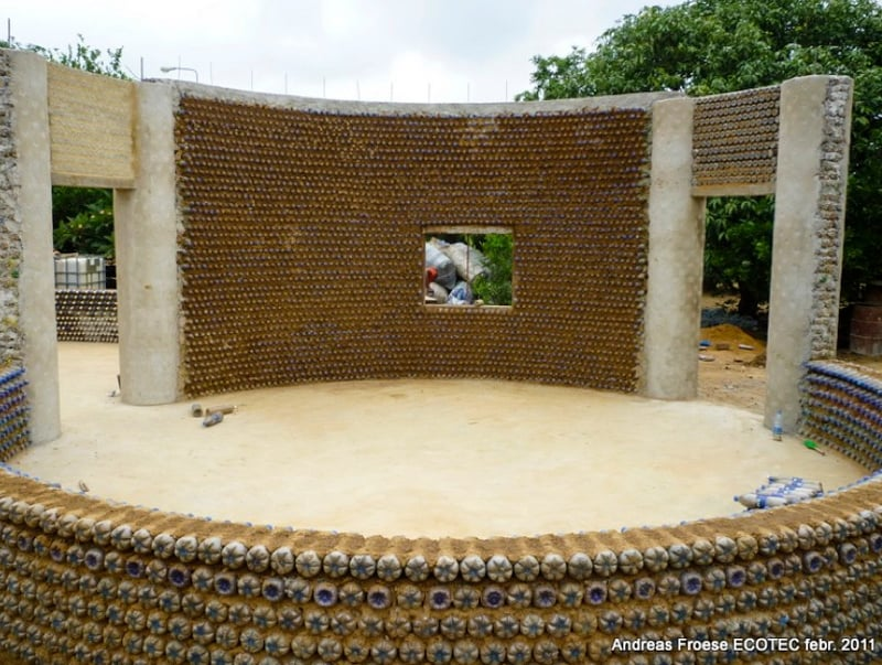 Recycled bottle house