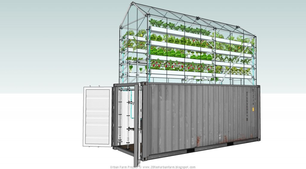 Shipping container greenhouse is awesome urban farm in a for Projet container