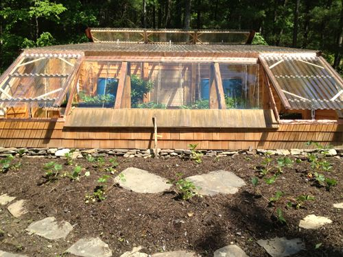 Wonderful earth sheltered greenhouse off grid world for Earth berm construction