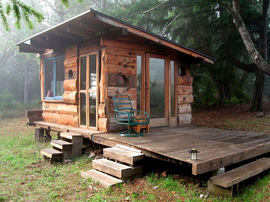 Off grid tiny house deep in the carolina woods built for for Small cottages to build
