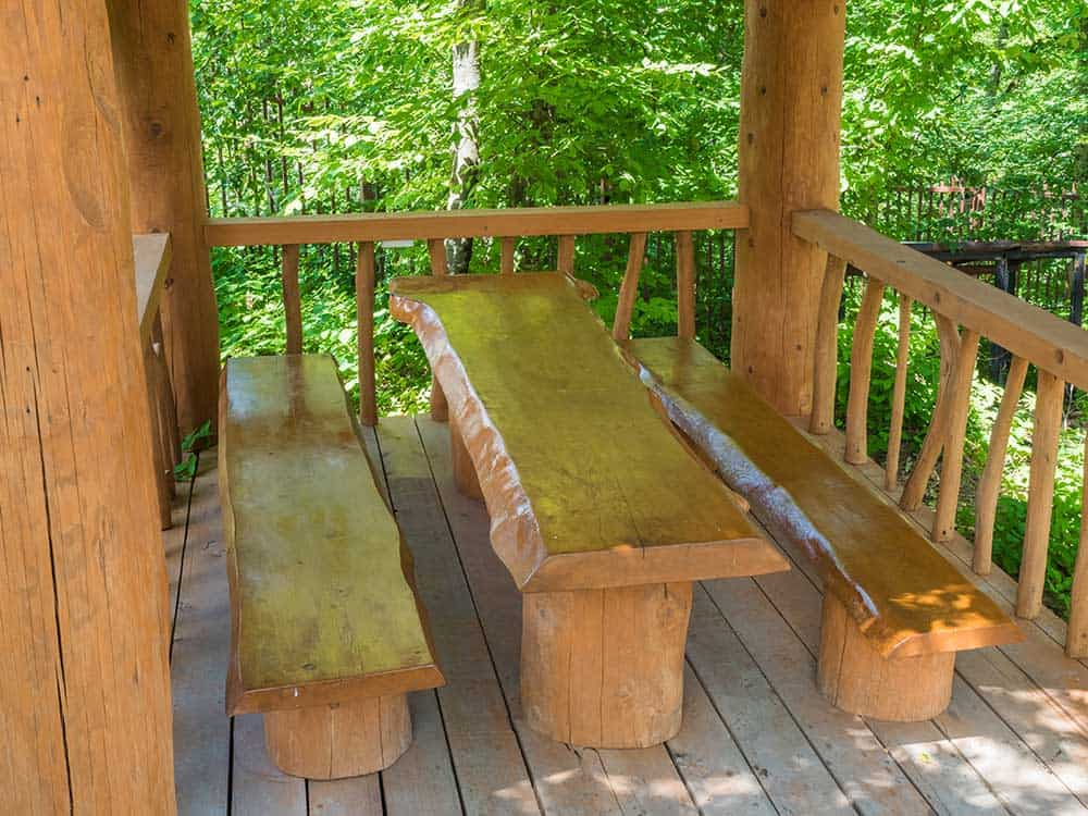 Log cabin bench table
