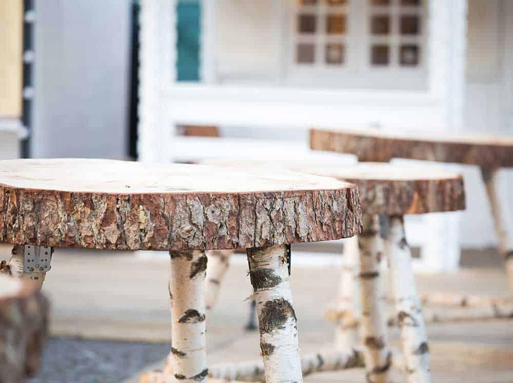 Birch log stools