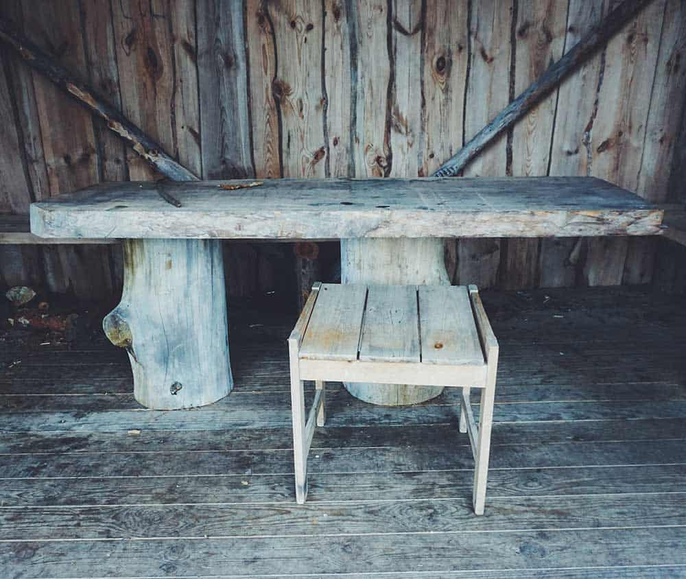 Rustic log bench