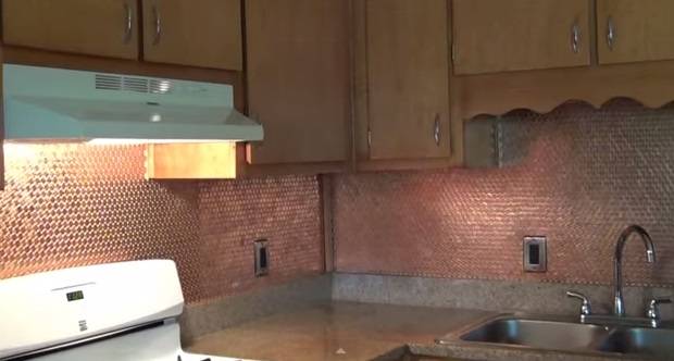 amazing diy penny backsplash this use of copper is simply stunning