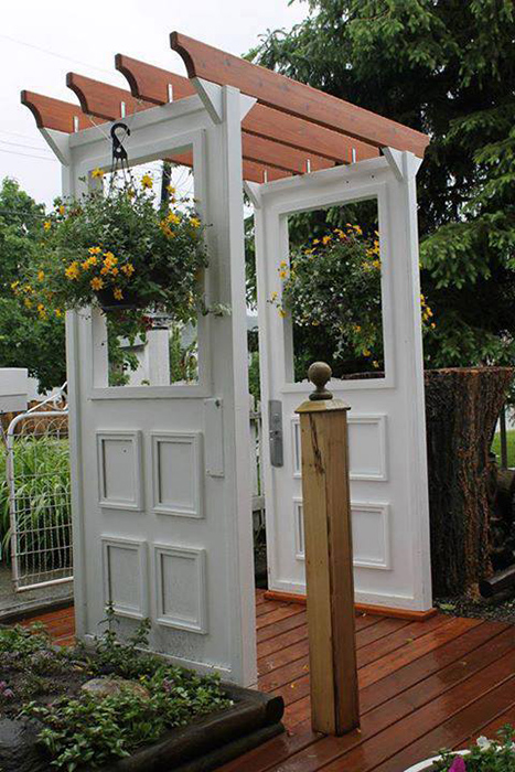 Garden arbor made with doors