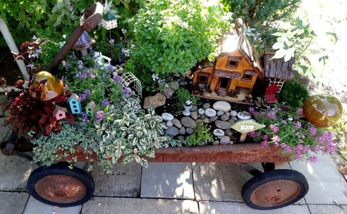 Just About Anything Can Be Used As A Container For Fairy Garden Like Old Wagons Wheelbarrows And Broken Pots To Name Few