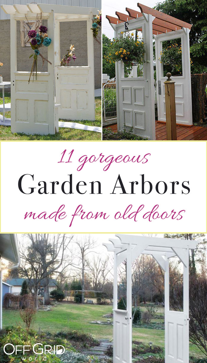Garden arbors made with doors