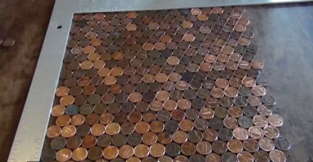 Amazing Diy Penny Backsplash This Use Of Copper Is Simply