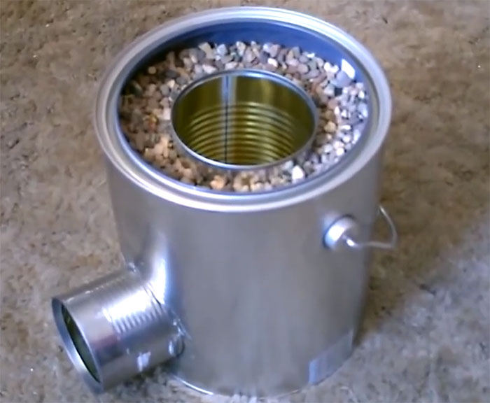 How to make a tin can rocket stove for Tin can solar heater