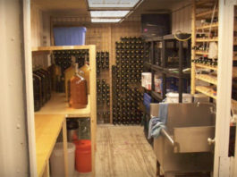 shipping container wine cellar