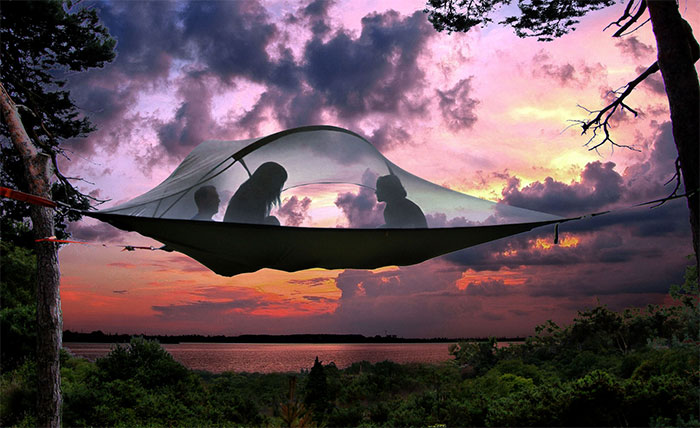 Camping in a Floating Hammock Tent? Yes, Please!