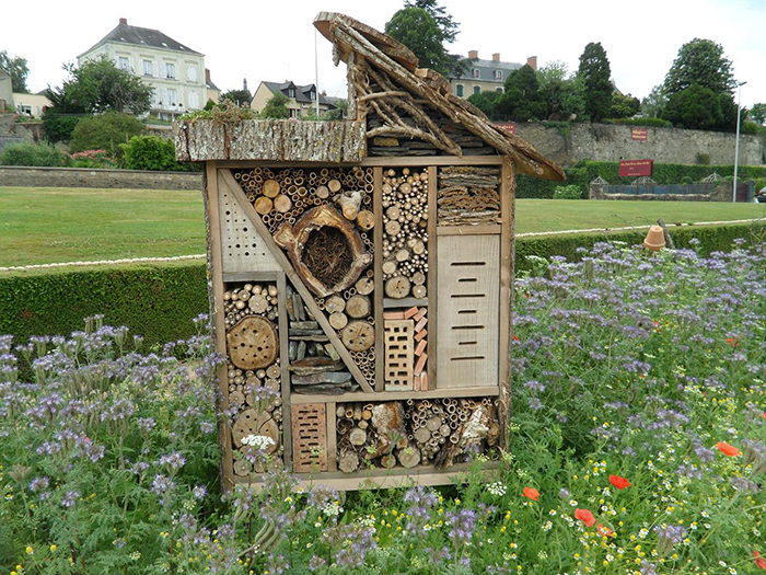 Bee hotel in flowers