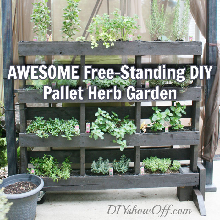 Awesome free standing diy pallet herb garden off grid world for Herb pallet