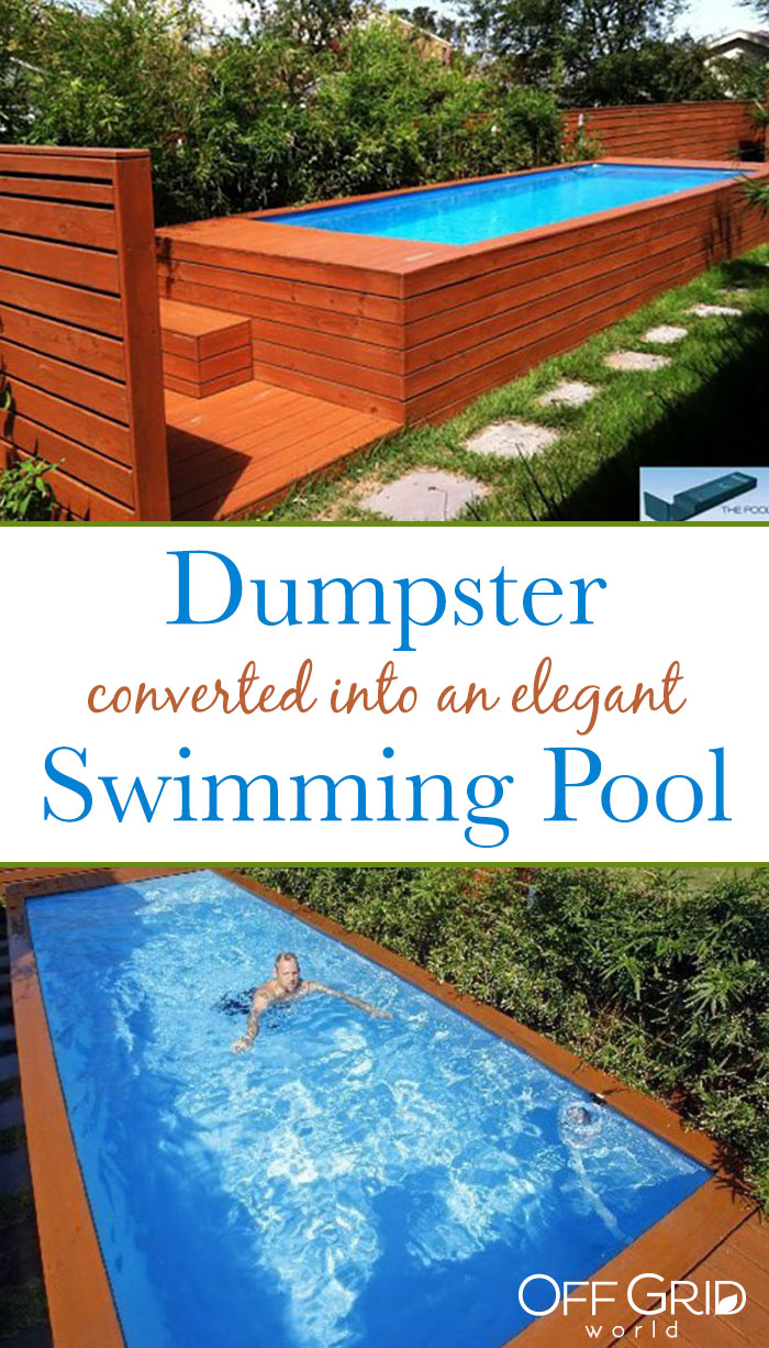 Dumpster converted into a swimming pool