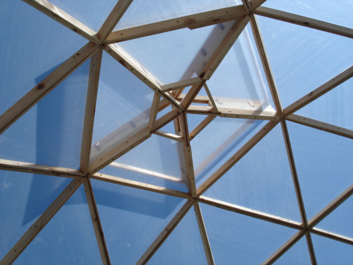 Roof of the geodome greenhouse