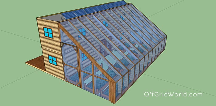 640sqft solar powered shipping container cabin with greenhouse for 25k off grid world. Black Bedroom Furniture Sets. Home Design Ideas