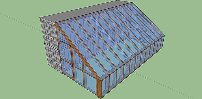 shipping container cabin with greenhouse 6