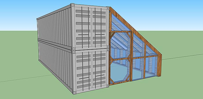 shipping container cabin with greenhouse 7