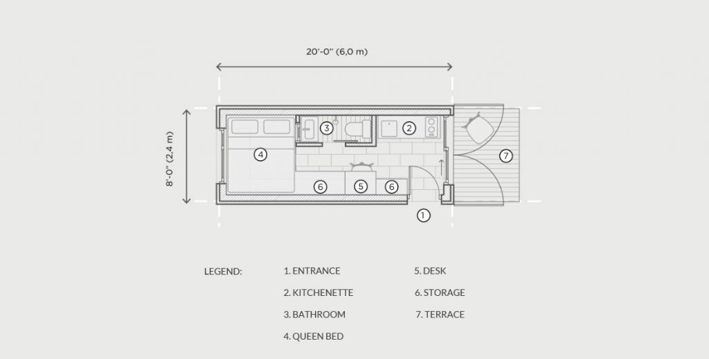 Shipping container home floorplan