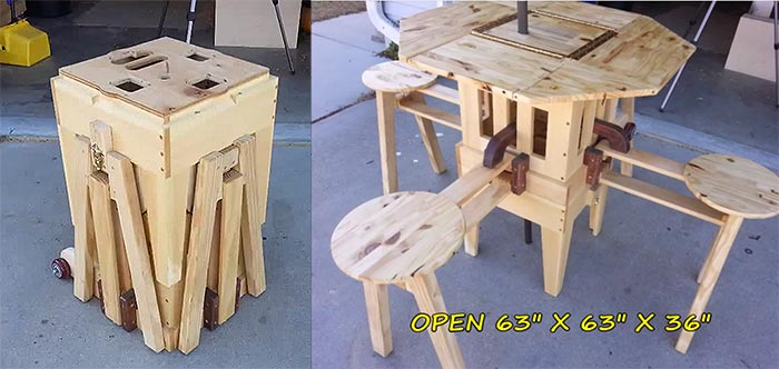 incredible folding picnic table off grid world. Black Bedroom Furniture Sets. Home Design Ideas