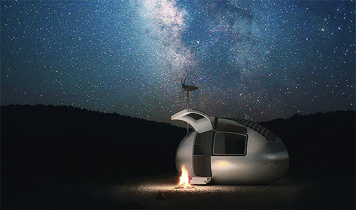 "9.7kWh Solar & Wind Powered Off Grid ""EcoCapsule"" is 100% Self Sufficient"