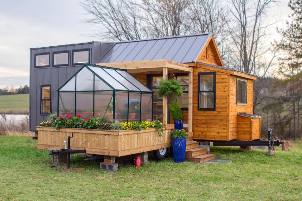 Unique tiny home with attached greenhouse deck and pergola for House plans with greenhouse attached