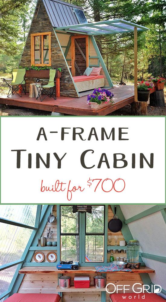 A-frame tiny cabin