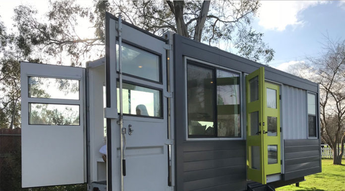 shipping container home on wheels