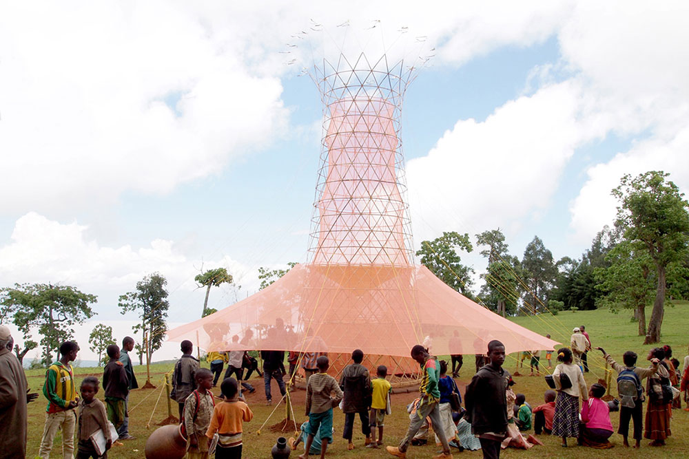 Warka Water collects atmospheric water