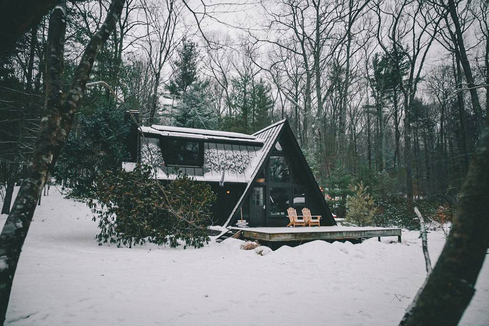Off grid cabin in winter