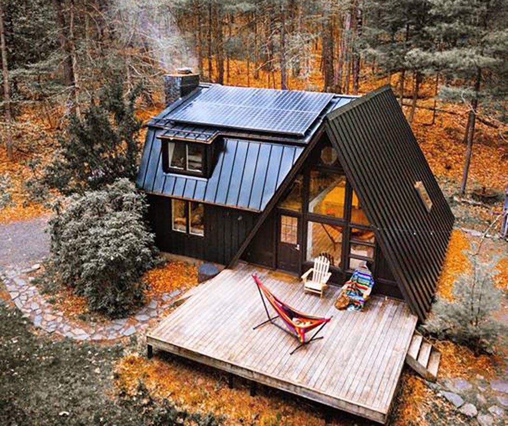 charming off grid a frame cabin in the catskills off. Black Bedroom Furniture Sets. Home Design Ideas