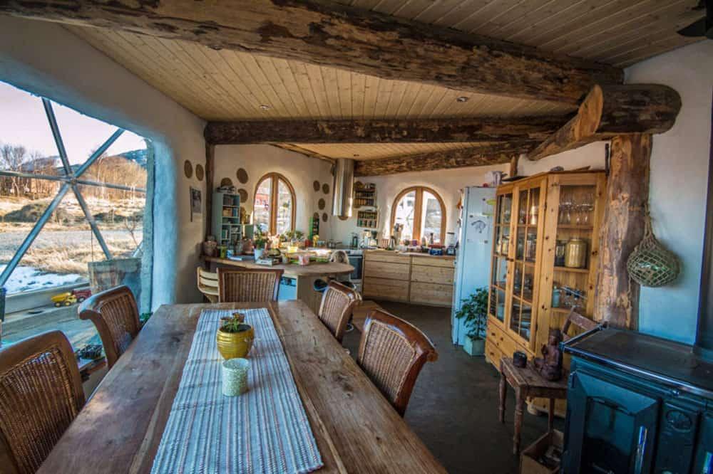 Interior of Nature House cob home