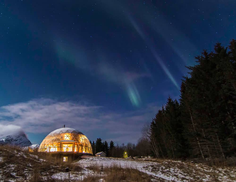 Geodesic dome under the Northern Lights