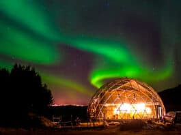 Cob house under Northern Lights