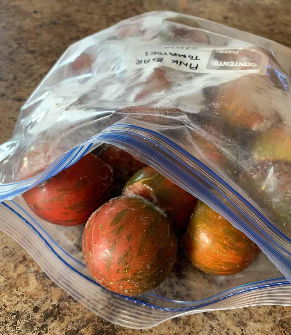 Freezing tomatoes whole