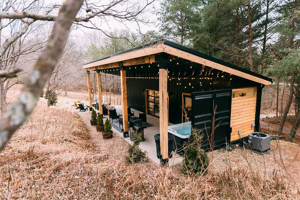 Shipping container patio