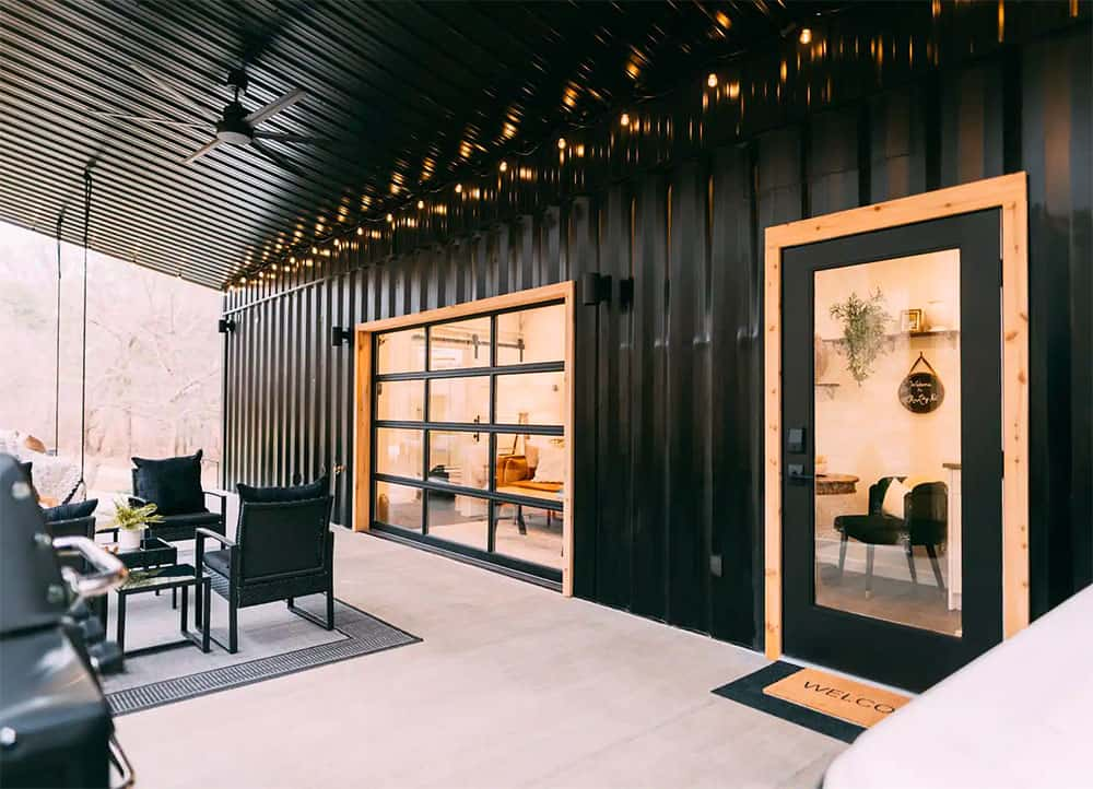 Black shipping container home